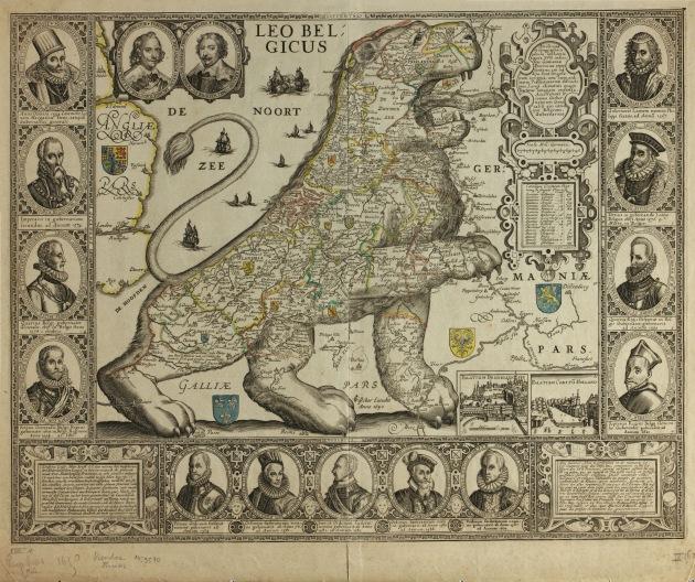Leo Belgicus artificiosa et geographica tabula sub leonis figura XVII. Inferioris Germaniae provincias ...