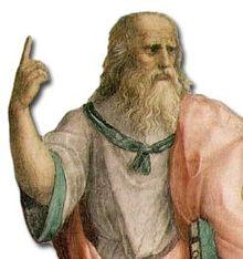 Platón en La escuela de Atenas; señala al cielo en alusión al Mundo de las ideas.