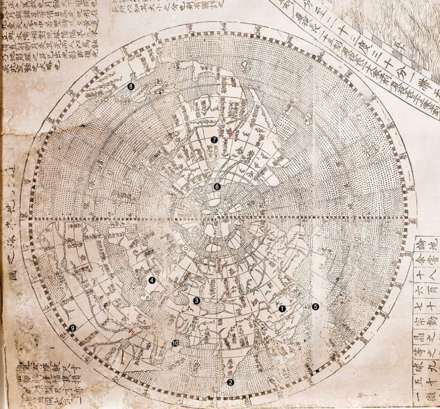 Ancient map showing China as centre of world goes on display