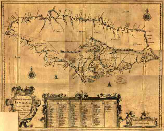 Mapa de Jamaica en 1671