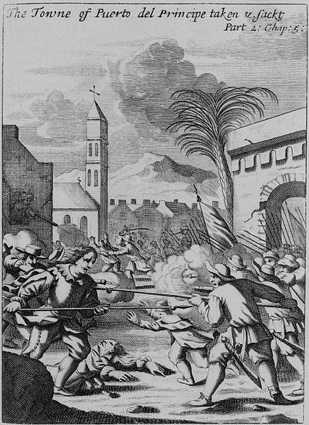 Ilustración del saqueo de Puerto Príncipe por Henry Morgan