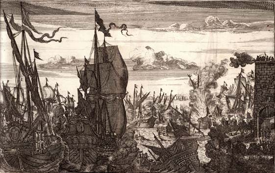 Imagen de la embestida de la flota de Henry Morgan al aventurarse a salir del lago de Maracaibo