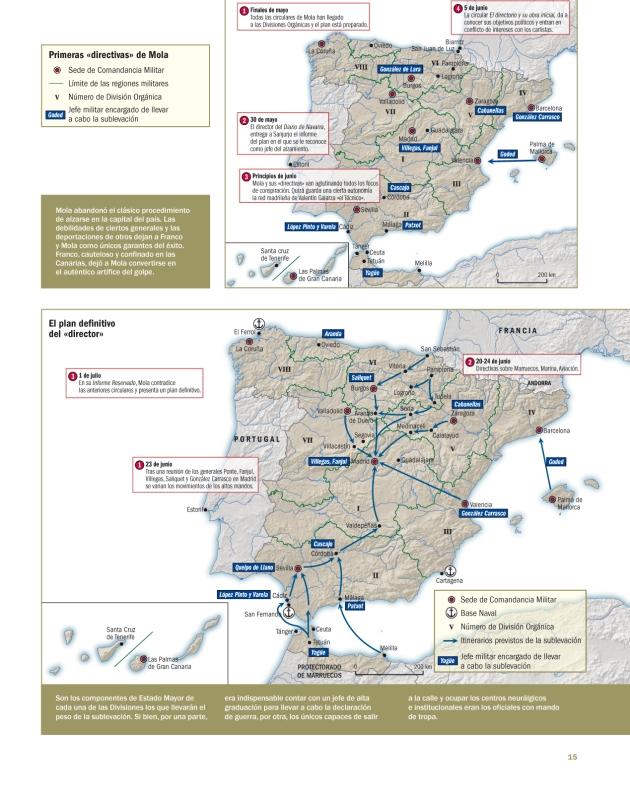Mapas que representan los planes esbozados por Mola para dar el Golpe de Estado que derribase a la Segunda República