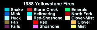Progresión de los incendios en la región de Yellowstone, entre julio y octubre de 1988
