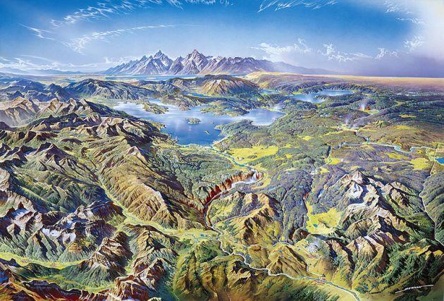 Pintura que representa Yellowstone, Heinrich Berann (NPS)