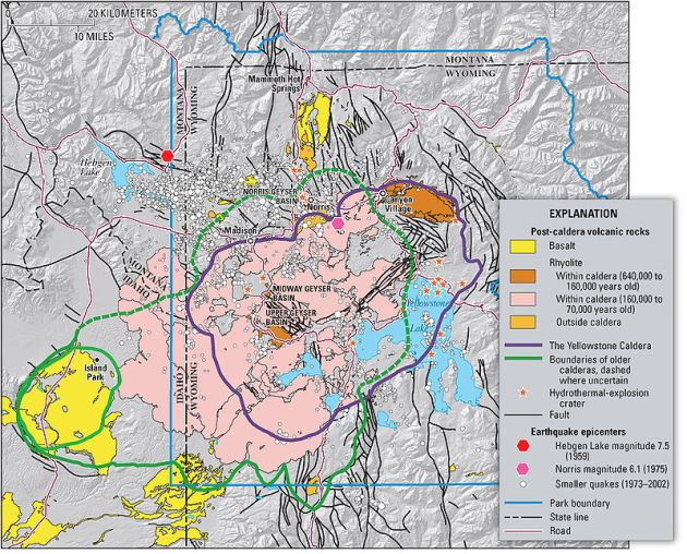 Mapa geológico de Yellowstone